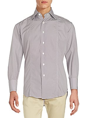 Regular-Fit Pindot Cotton Sportshirt