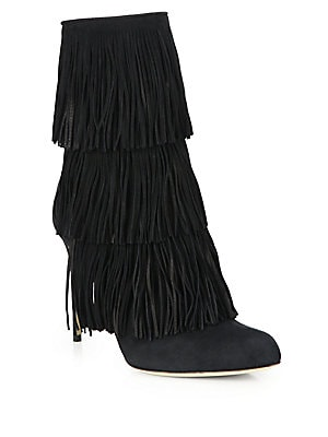 Layered Fringe Point-Toe Booties