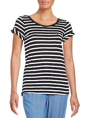 Striped Supima Cotton-Blend Pocket Tee