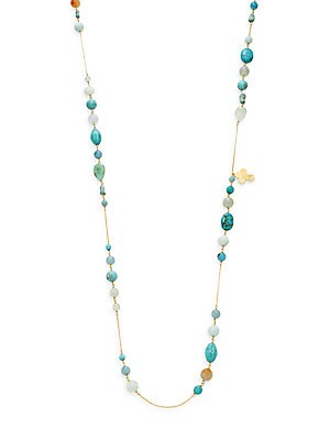 Aqua Fire Agate, Turquoise, Amazonite, Sponge Aqua & 18K Gold Vermeil Beaded Necklace