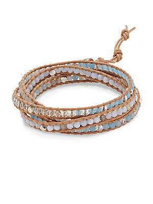 Blue Lace Agate, Grey Botswana Agate, Periwinkle, Quartz & Sterling Silver Wrap Bracelet
