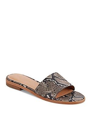 Embossed Leather Slide Sandals
