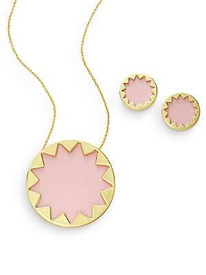 Exclusive Leather Sunburst Necklace & Earring Set