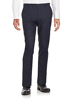 Virgin Wool Flat-Front Pants