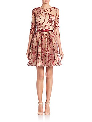 Belted Metallic-Embroidered Tulle Dress
