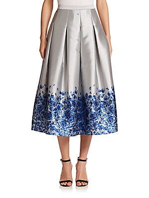 Confetti Floral Satin Midi Skirt