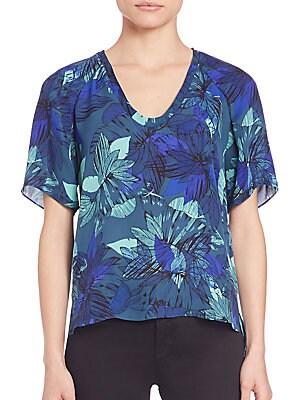 Tahitian Silk Floral-Print Top