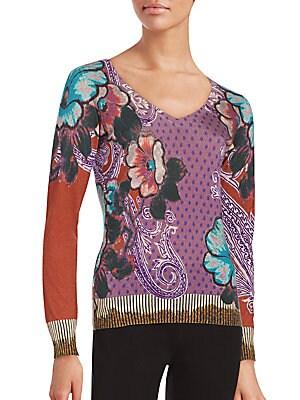Floral Silk & Cashmere Blend Sweater
