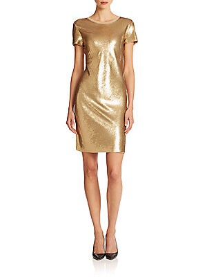 Metallic Sequined Shift Dress