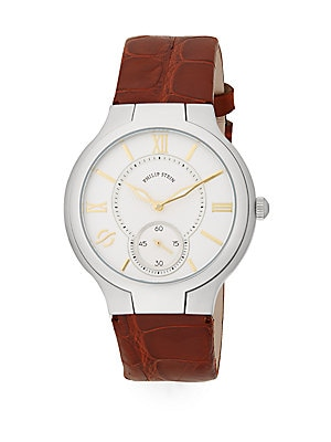 Round Chronograph Stainless Steel & Leather Watch