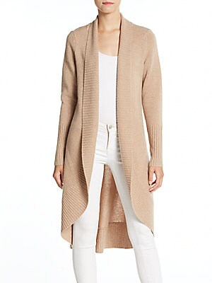 Rib-Knit Open Front Cashmere Cardigan
