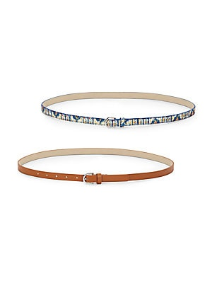 Sequined Pattern & Faux-Leather Belt/Set of 2