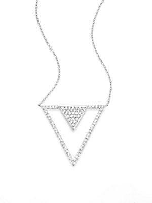 Click here for Diamond & 14K White Triangle Pendant Necklace prices