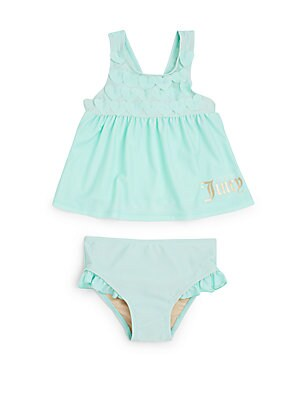 Little Girl's Two-Piece Heart Appliqué Tank & Ruffled Bottom Swim Set