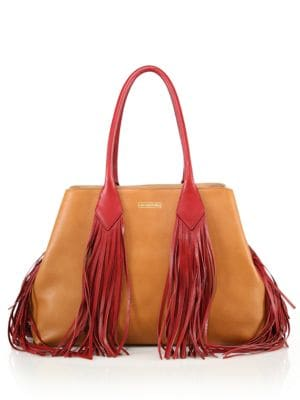 SARA BATTAGLIA Large Two-Tone Fringed Leather Tote in Brown Nut