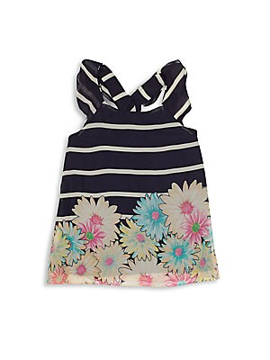 Girl's Striped Floral Top