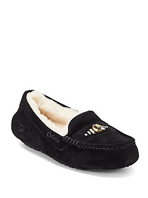 Ansley Swarovski Crystal, Leather & Shearling Loafers