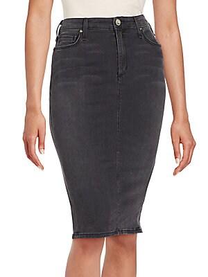 Faded Denim Pencil Skirt