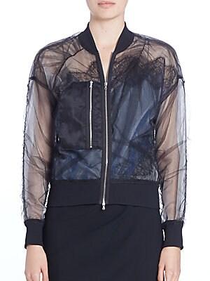 Sheer Lace-Trim Bomber Jacket