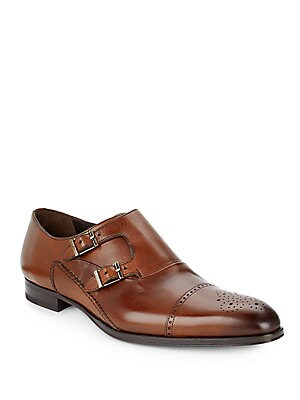 Double Monk-Strap Leather Wingtips