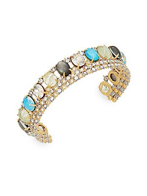 Elements Howlite, Black Mother-Of-Pearl & Crystal Lace Cuff Bracelet