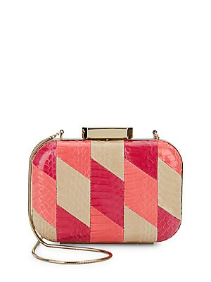 Theresa Snake-Embossed Leather Minaudiere