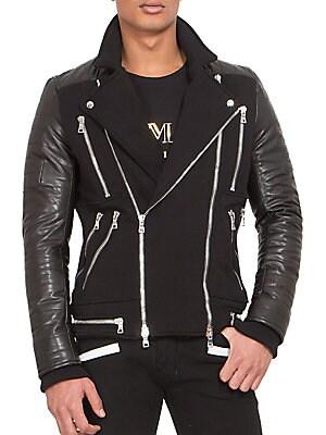 Leather & Jersey Zip Biker Jacket