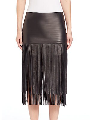 Malinda Leather Fringe Skirt