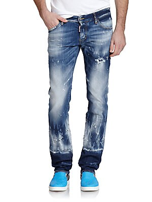 Bleached & Painted Slim-Fit Jeans