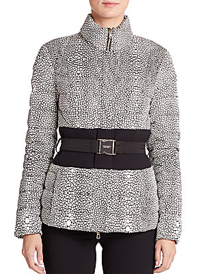 Stingray-Print Belted Puffer Jacket