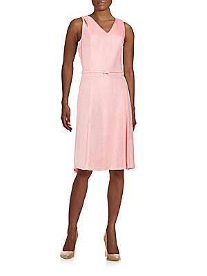 Belted Silk & Linen Dress