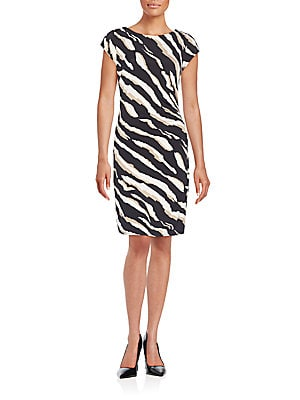 Zebra Print Ruched Dress