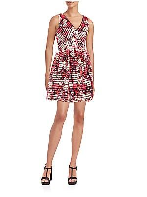 Eyelet Floral-Print Dress