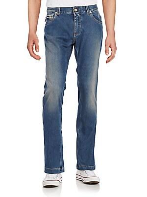 Stone Wash Straight-Leg Jeans