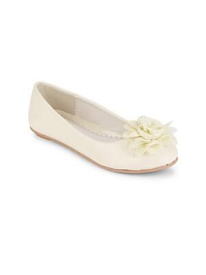Girl's Flower-Detail Ballet Flats