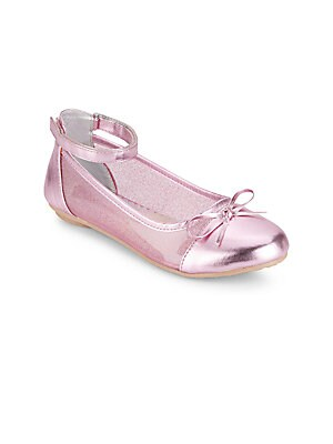 Girl's Bow-Detail Ankle-Strap Ballet Flats
