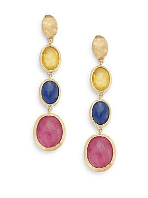 Siviglia Multicolor Sapphire & 18K Yellow Gold Drop Earrings