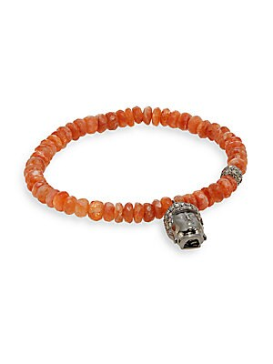 Diamond, Fire Opal & Sterling Silver Beaded Buddha Bracelet
