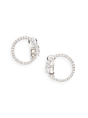 Click here for 1.0 TCW Diamond & 14K White Gold Loop Earring prices