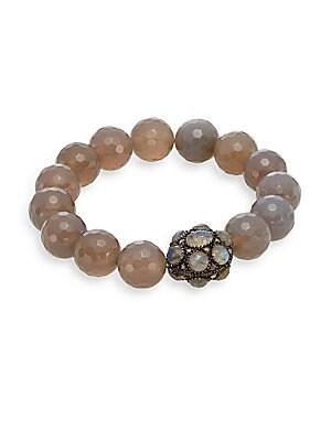 Champagne Diamonds, Agate, Labradorite & Sterling Silver Beaded Bracelet
