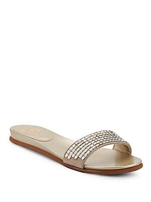 Evanal Rhinestone-Embellished Slide Sandals