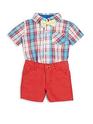 Baby's Three-Piece Plaid Bodysuit, Shorts & Bowtie Set