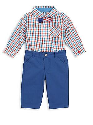 Baby's Three-Piece Gingham Bodysuit, Pants & Bowtie Set