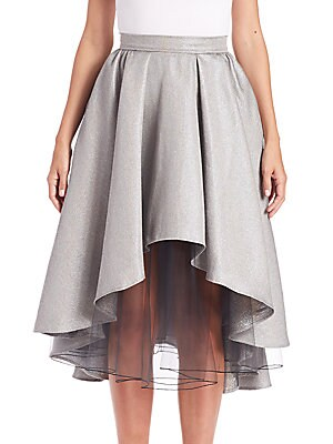 Layered Metallic Hi-Lo Skirt