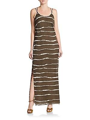 Tie-Dye Striped Maxi Dress