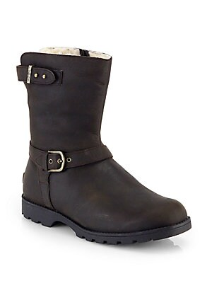 Grandle Shearling Lined Shearling Motorcycle Boots