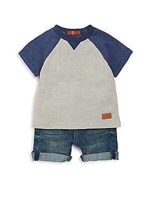 Baby Boy's Two-Piece Baseball Tee & Denim Shorts Set
