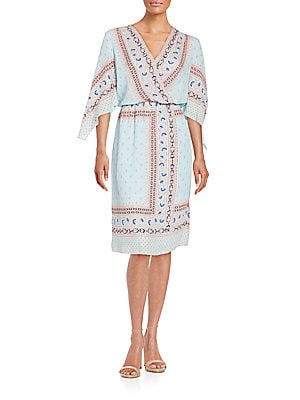 Printed Blouson Wrap Dress