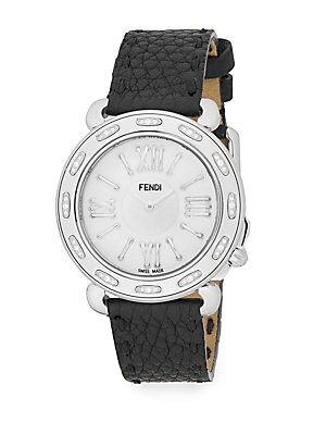 Selleria Diamond, Mother-Of-Pearl, Stainless Steel & Leather Strap Watch