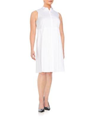 Bronte Stretch-Cotton Shirtdress Lafayette 148 New York, Plus Size